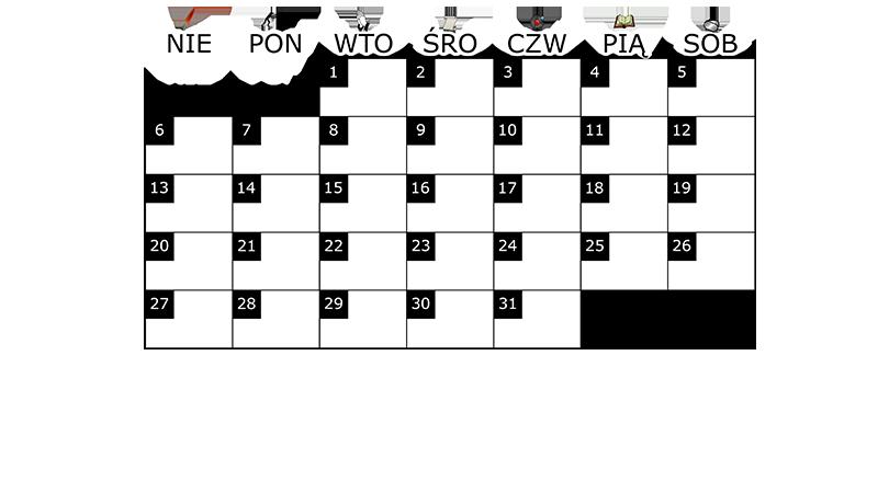 Szablon na miesięczny kalendarz na lipiec 2014