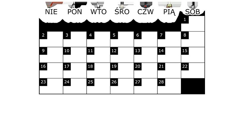 Szablon na miesięczny kalendarz na luty 2014