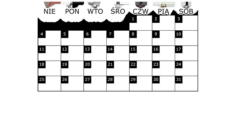 Szablon na miesięczny kalendarz na maj 2014