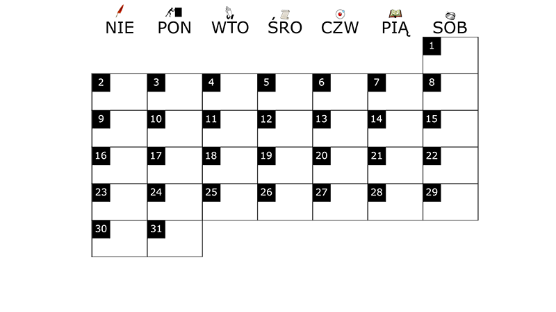 Szablon na miesięczny kalendarz na marzec 2014