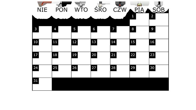 Szablon na miesięczny kalendarz na sierpień 2014