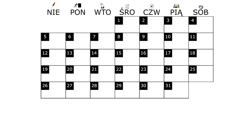 Szablon na miesięczny kalendarz na styczeń 2014